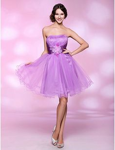 A-line Strapless Knee-length Tulle And Stretch Satin Cocktail/Prom Dress
