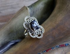 Silver Ring Statement Bohemian Ring Rough Tanzanite by LKArtChic