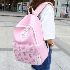 31.88$  Buy now - https://alitems.com/g/1e8d114494b01f4c715516525dc3e8/?i=5&ulp=https%3A%2F%2Fwww.aliexpress.com%2Fitem%2F2016-Cute-Preppy-Designer-Leaf-Printing-Backpacks-For-Teenage-Girls-Pink-Backpack-Schoolbag-Ladies-Travel-Canvas%2F32747711002.html - 2016 Cute Preppy Designer Leaf Printing Backpacks For Teenage Girls Pink Backpack Schoolbag Ladies Travel Canvas Backpacks Bag 31.88$
