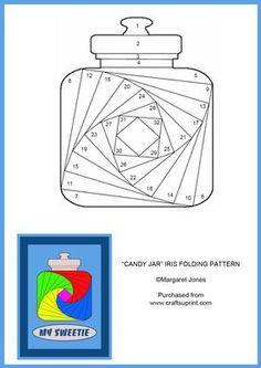Candy Jar Iris Folding Pattern on Craftsuprint designed by Margaret Jones - Make… Iris Folding Templates, Iris Paper Folding, Iris Folding Pattern, Paper Piecing Patterns, Card Patterns, Quilt Block Patterns, Unique Cards, Creative Cards, Shaped Cards