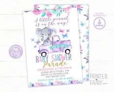 Elephant Baby Shower Drive By Baby Shower EDITABLE | Etsy Printable Baby Shower Invitations, Baby Shower Invites For Girl, Digital Invitations, Baby Shower Printables, Baby Boy Shower, Birthday Invitations, Mexican Invitations, Pizza Party Birthday, Baby Girl Elephant