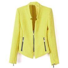 Sheinside® Damen kragenloser Blazer mit Reißverschluss, gelb (L, gelb)