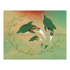 We Swim In Threes art print featuring dolphins by malathip on Etsy https://www.etsy.com/listing/69748633/we-swim-in-threes-art-print-featuring