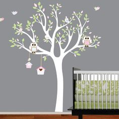 Wall Art Vinyl Decal Sticker Tree with Birdhouse by wallartdesign