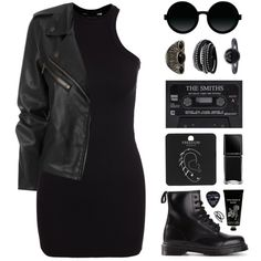 Rocker Chic by felytery on Polyvore featuring New Look, Dr. Martens, Topshop, Cuero, Pieces, Moscot, Goody, TokyoMilk, Illamasqua and Floyd