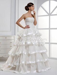 A-ラインティアードストラップレスロングフロアウェディングドレス
