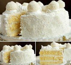 Kokosový dort s Rafaello kuličkami - FOTOPOSTUP Ukrainian Desserts, Russian Desserts, Raffaello Cake Recipe, Baking Recipes, Cake Recipes, Hungarian Cake, Inside Cake, Easy Cake Decorating, Big Cakes