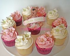 Bear and blossoms Christening cupcakes | Just a few of the c… | Flickr
