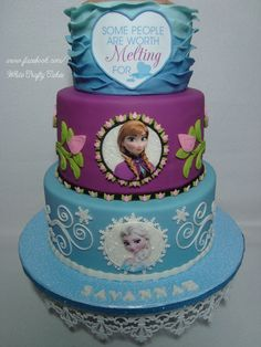 Want to Build a Snowman Frozen Cake with Elsa, Anna, and Olof - Cute version of the princesses as kids! Description from pinterest.com. I searched for this on bing.com/images