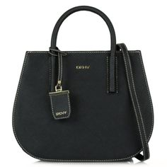 nice DKNY Tori Black Leather Round Tote Bag