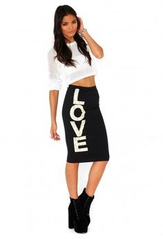 Junia Love Print Bodycon Midi Skirt http://www.missguided.co.uk/catalog/product/view/id/75595/s/junia-love-print-bodycon-midi-skirt/category/545/ #junia #love #print #bodycon #midi #skirt #white #black #LOVE #letters #fashion #style #musthave #SS13 #mg #missguided #essential #summer #trend #cute #womenswear #new