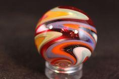 "Handmade Zig Zag Swirl Marble 1-1/16"" Art Marbles by Christopher Delp"