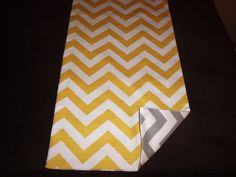 Yellow and Gray Reversible Chevron Table Runner by longrunners, $18.00