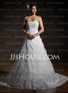 Wedding Dresses - $216.29 - A-Line/Princess Strapless Chapel Train Organza  Satin Wedding Dresses With Lace  Beadwork (002011556) http://jjshouse.com/A-Line-Princess-Strapless-Chapel-Train-Organza-Satin-Wedding-Dresses-With-Lace-Beadwork-002011556-g11556