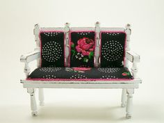 112 Shabby Chic Dollhouse Miniature Settee Roses by dalesdreams