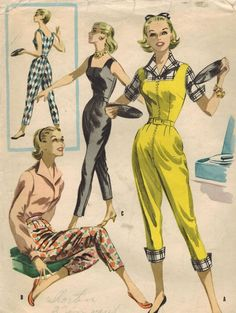 1950s McCall's 3415 Vintage Sewing Pattern Misses Blouse, Pants, Jumpsuit Size 14 Bust 32