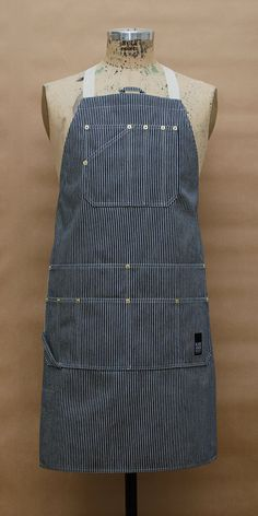 Utility Hickory Stripe Apron , upper divided pocket, lower 2 tiers of pockets by BLACKHOUSEPROJECT on Etsy, $155.00