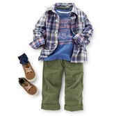"He'll look so handsome in a layered tee and plaid shirt. Ripstop pants and canvas sneakers finish off this boyish outfit.  See the entire collection here: <a href="" http://www.carters.com/carters-baby-boy-playtime-adventures?navID=header""><u>Playtime Adventures</u></a>"