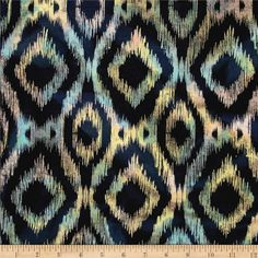Printed Indian Batik Flannel Ikat Multi from @fabricdotcom  From Textile Creations, this Indian Batik-printed single-napped flannel (brushed on one side) fabric is perfect for quilts, apparel and craft projects. Colors include navy, pink, yellow, melon and mint.  This fabric is not flame retardant.