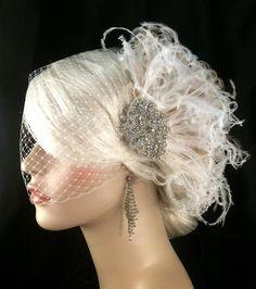 Hollywood Glitz  2-  Bridal Fascinator, Rhinestone Hair clip, Feather Fascinator, Bridal Veil, Wedding Veil, Hair Clip. $82.00, via Etsy.