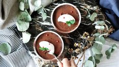 Mousse. Ingredients: 1 avocado, 1 medium banana, 1/3 cup unsweetened cocoa, 3 1/2 ounces soy milk, 3 ounces maple syrup, Toppings:, Greek yogurt, Mint, Pink peppercorns, Cocoa powder
