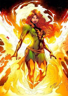 Jean Grey - The Phoenix - Xmen - Comic Book Art - Marvel Comics - X-men Comic Movies, Comic Book Characters, Marvel Characters, Comic Books Art, Comic Art, Book Art, Arte Dc Comics, Marvel Comics Art, Marvel Heroes