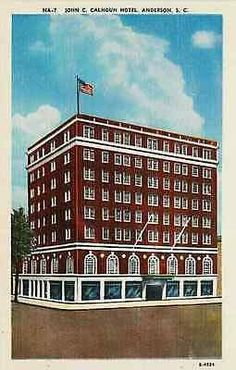 Anderson South Carolina SC 1940s John C Calhoun Hotel Antique Vintage Postcard