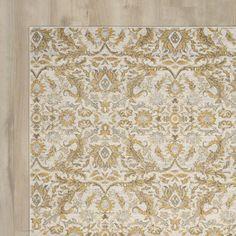 Rosalind Wheeler Ikin Ivory/Gold Area Rug & Reviews   Wayfair
