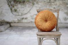 Saffron velvet round pillow 16 by fulyad on Etsy