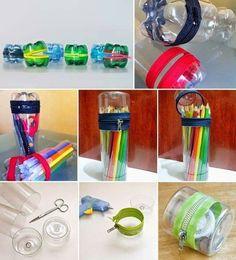 Recyclez vos bouteilles de plastique pour en faire de jolis coffres à crayons
