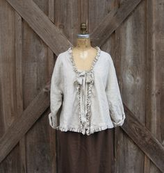 linen top blouse swing style with ruffles in natural oatmeal.