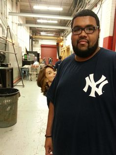Some weirdo photo bombing my buddy on the set of 30 Rock... - Imgur
