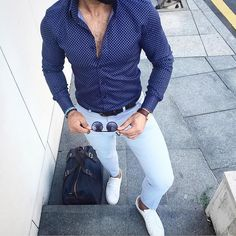 #blue shirt chinos and #sneaker by @bilalgucluu [ http://ift.tt/1f8LY65 ]