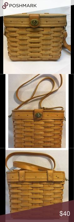 """Longaberger Basket Purse with Shoulder Strap Vintage Longaberger Basket Purse with adjustable leather shoulder strap. Cream colored liner and clear plastic protector included. Liner has 4 slip pockets and 1 zipper pocket. Approximately 9.5 x  6"""" x 7.5"""", bottom approximately 7.25"""" x 3.75. Gently used, from smoke-free, pet-free home. Longaberger Bags Shoulder Bags"""