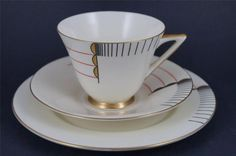 RARE & STUNNING Royal Doulton ART DECO Trio MAGNA Cup, Saucer, Plate 1930s vgc:
