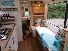 Travel couple convert van to luxury beach bus - INSIDER