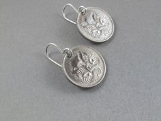 AUSTRALIA COIN EARRINGS sterling silver hooks .australian echidna spiny anteater . by Partsforyou No.001040