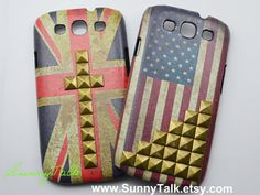 Samsung Galaxy S3 Case - Vintage National Flag American Flag Leather Bronze Pyramid Studded on Samsung Galaxy S3 Case-
