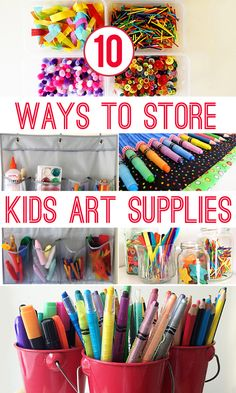 10 Ways to Store Kids Art Materials is part of Arts And crafts Storage - 10 useful storage ideas perfect for organising kid's art and craft materials Kids Art Storage, Art Supplies Storage, Arts And Crafts Storage, Arts And Crafts House, Easy Arts And Crafts, Craft Storage, Storage Ideas, Quick Crafts, Toy Storage