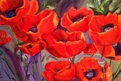 Southwestern Poppies VII  Original Oil Painting.  by brushnpalette, $850.00