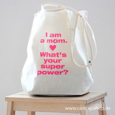 I am a mom whats you superpower? cotton bag