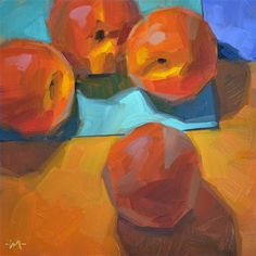 """Peach Intervention"" - Original Fine Art for Sale - � Carol Marine"