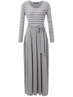 be222bc255af JayJay Women Stripe Print Long Sleeve U-Neck Tie Waist Maxi Casual Dress  With Pocket
