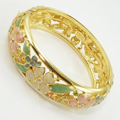 Vintage Joan Rivers Enameled Floral Hinged Bangle Bracelet