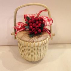 4 inch Nantucket Style Blooming Paperwhite Basket with Red Check Bow & Red Berries- 2 Blooming Bulbs