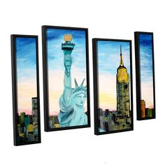 Statue Of Liberty With View Of Mew York by Marcus/Martina Bleichner 4 Piece Floater Framed Painting Print on Canvas Staggered Set