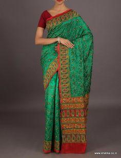Maanya fresh green fully embroidered #kantha work #puresilksaree