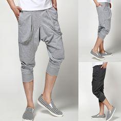 Men's summer harem pants capris trousers high quality sports pants for man clothing color gray/black $18.89