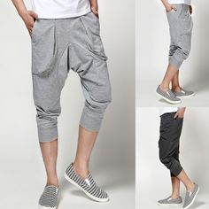 Men's summer harem pants capris trousers high quality sports pants for man clothing color gray/black $18.89
