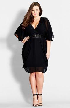 Plus Size Sequin Wrap Front Dress. aff